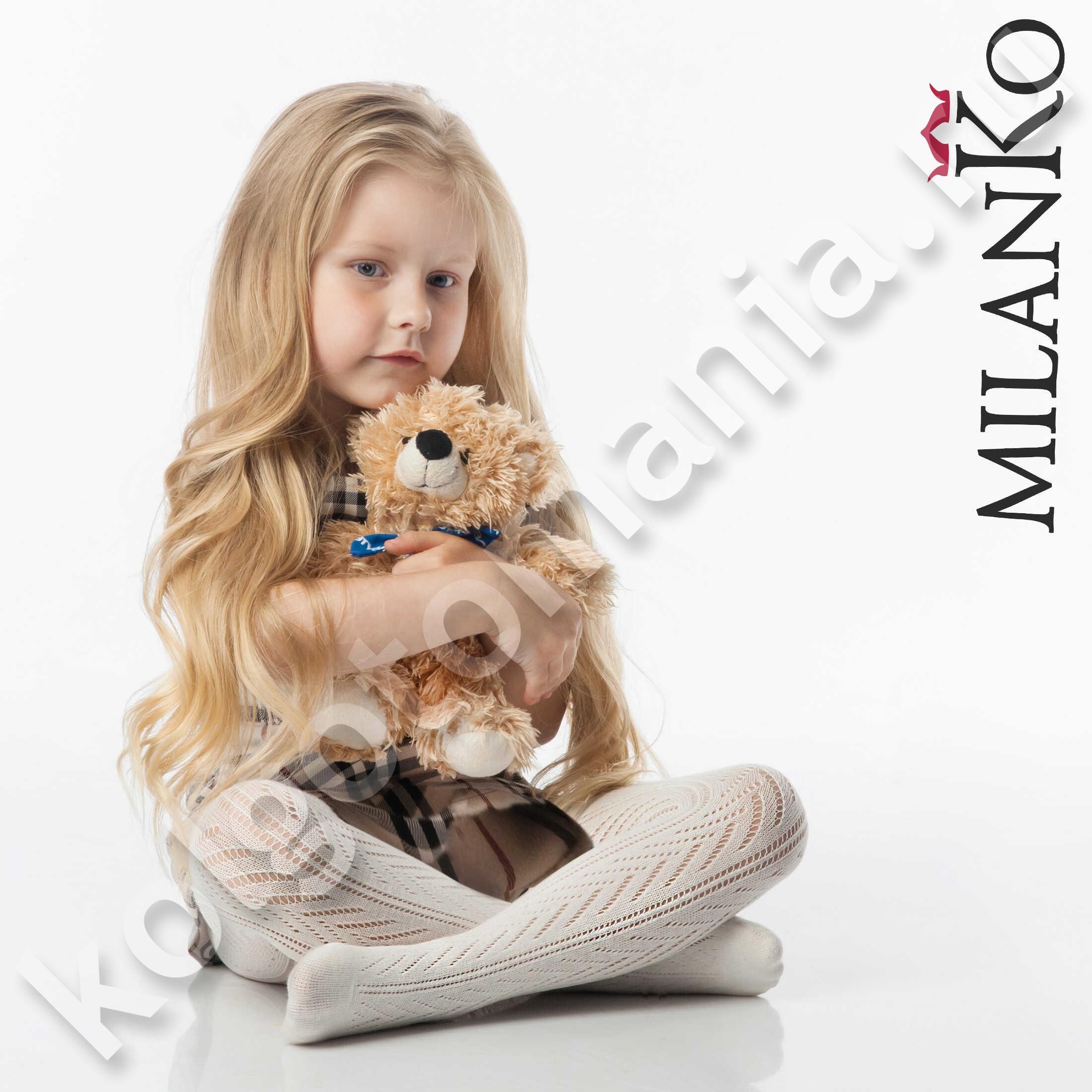 Детские ажурные колготки из хлопка ЦВЕТНЫЕ (Узор 3) MilanKo IN-015