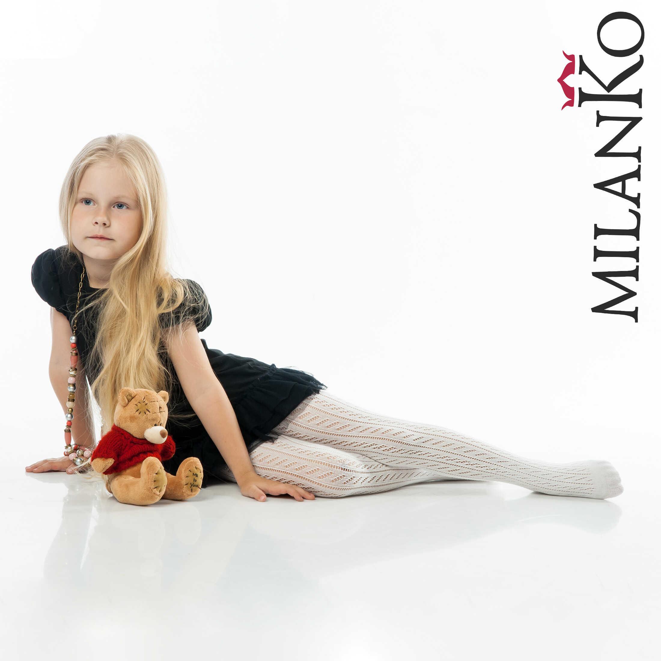 Детские ажурные колготки из хлопка БЕЛЫЕ MilanKo IN-115
