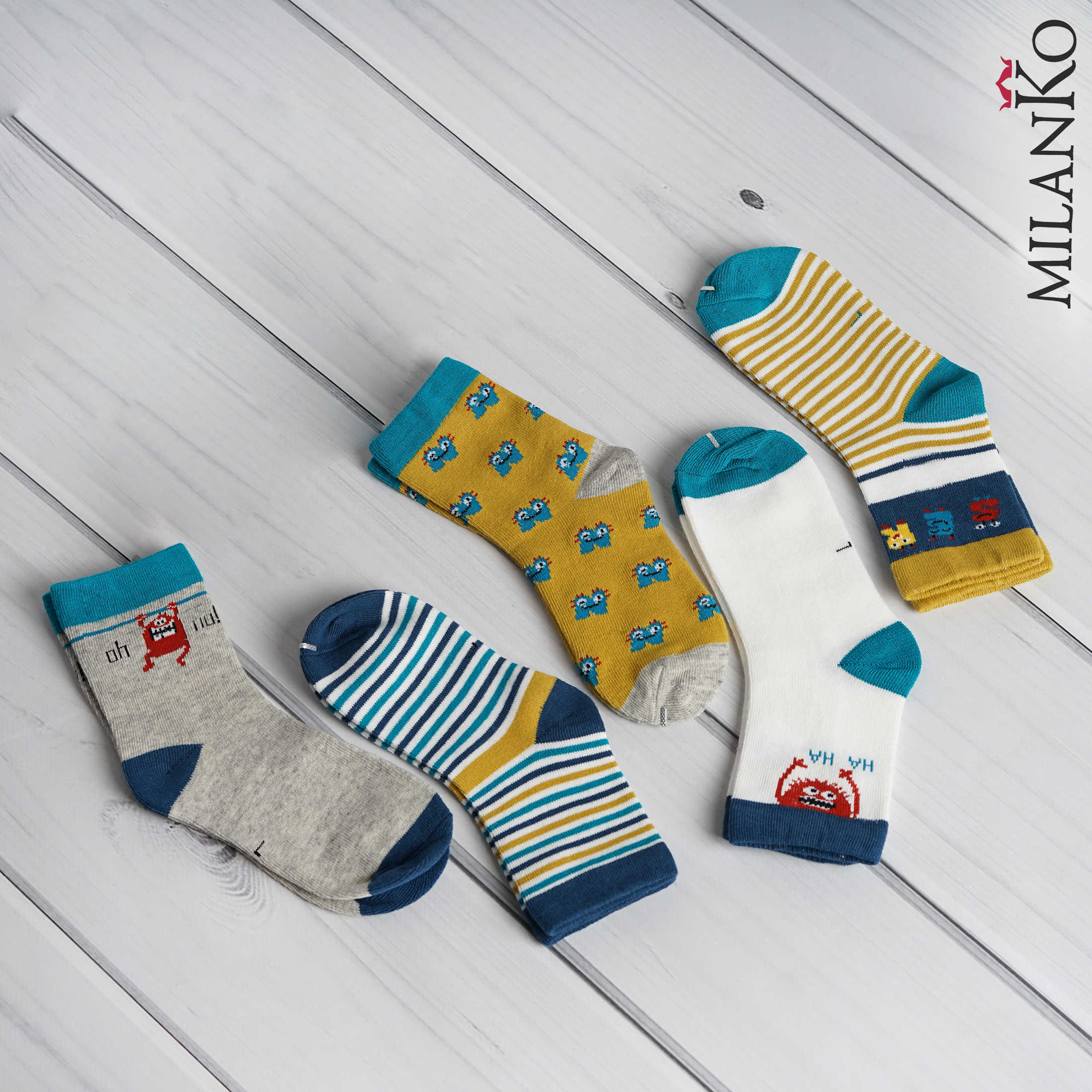 """MILANKO     Детские хлопковые носки с рисунком """"монстрики"""" MilanKo IN-165"""